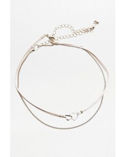 Heart Linked Choker And Chain Necklace 2-pack