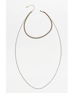 Double Chain Choker And Necklace