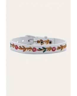 Rose Embossed Leather Buckle Bracelet