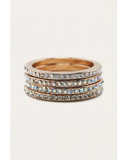 Iridescent Crystal Stacking Ring 4-pack