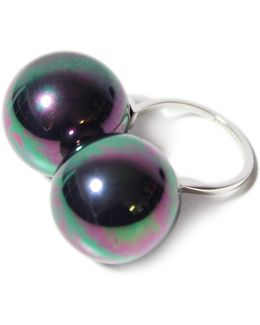 Large Double Black Pearl Ring