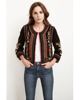 Adara Embroidered Velvet Jacket In Multi