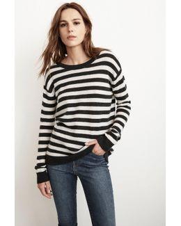 Cath Stripe Cashmere Sweater In Black