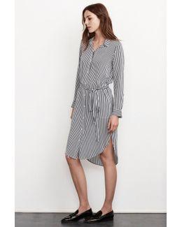 Sonoma Vertical Stripe Shirt Dress In Navy
