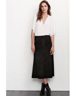 Yennie Faux Suede Panel Skirt In Black