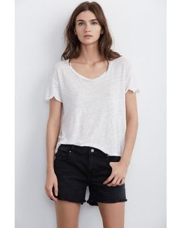 Cindy Frayed Hem Boyfriend Shorts In Coal