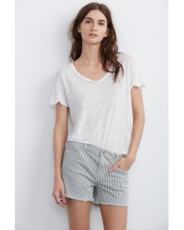 Cindy Frayed Hem Boyfriend Shorts In Pinstripe