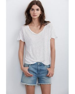 Cindy Frayed Hem Boyfriend Shorts In Sky