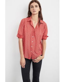 Emery Printed Cotton Button-up Shirt In Red