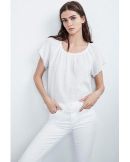 Eve Soft Cotton Gauze Raw Edge Top
