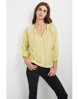 Hollie Printed Cotton Peasant Top In Yellow