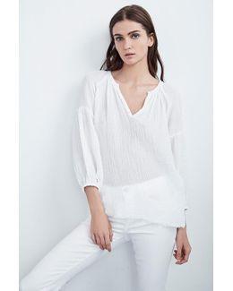 Octavia Soft Cotton Gauze Peasant Top