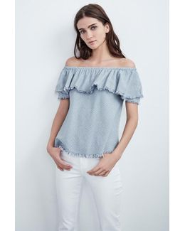 Paloma Woven Cotton Stripe Off The Shoulder Top