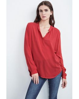 Rosie Half-placket Challis Blouse