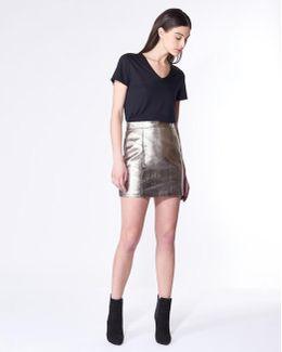 Skyler Mini Pencil Skirt In Metallic Leather