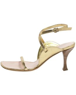 Pre-owned Gold Leather Sandals