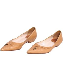Pre-owned Camel Leather Ballet Flats