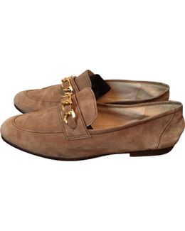 Pre-owned Beige Suede Flats