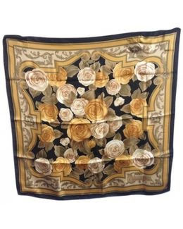 Pre-owned Black And Gold Silk Scarf