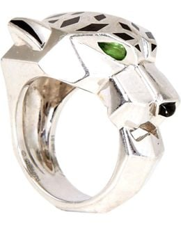 Pre-owned Panther Ring In White Gold