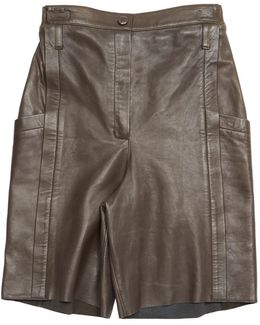 Pre-owned Leather Bermuda Shorts.\\n