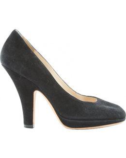 Pre-owned Black Suede Heels