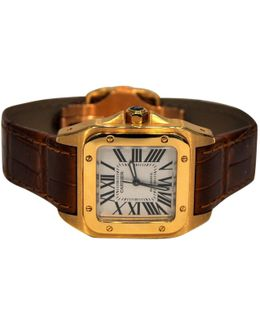 Pre-owned Santos Yellow Gold Watch