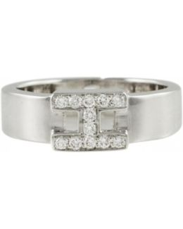 Pre-owned Clic H White Gold Ring