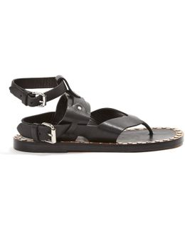 Pre-owned Leather Flip Flops
