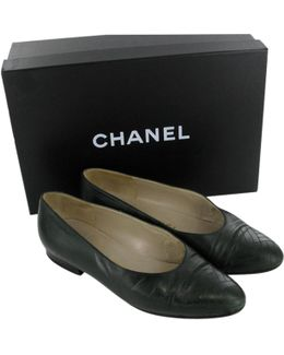 Pre-owned Green Leather Ballet Flats