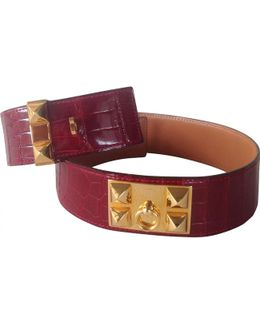 Pre-owned Burgundy Exotic Leathers Belt