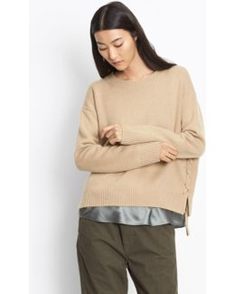 Cashmere Lace-up Pullover
