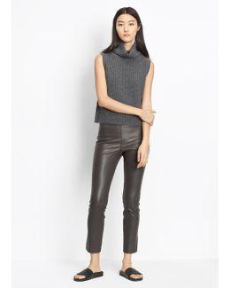 Leather Stretch Split Hem Crop
