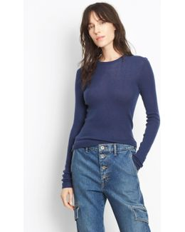 Ribbed Cashmere Crew