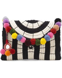 Sevil – Striped Pompom Clutch