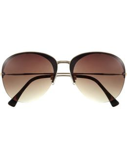 Metal-frame Gradient-lens Sunglasses