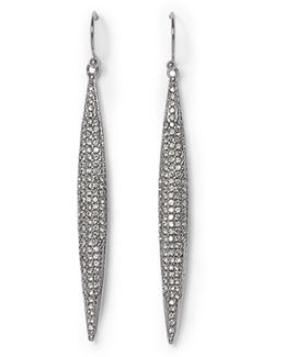 Silvertone Pavé Spear Earrings