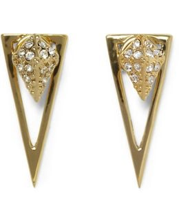 Goldtone Drop-back Triangle Earrings