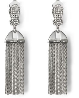 Silvertone Pavé Tassel Clip Earrings