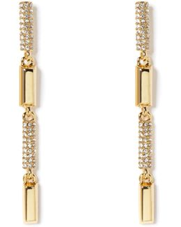 Goldtone Pavé-accent Linear Earrings