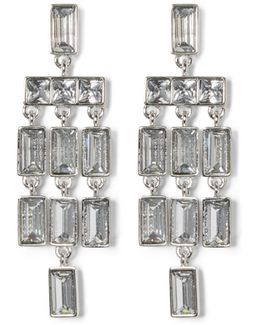 Silvertone Jeweled Chandelier Earrings