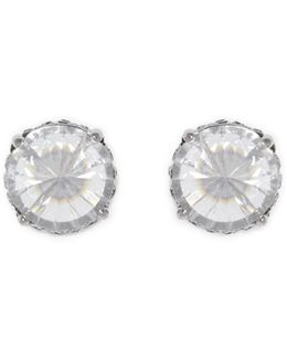 Silvertone Rivoli Stud Earrings