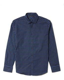 Dobby-dotted Check Shirt
