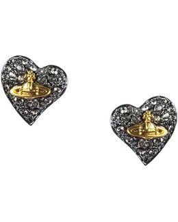 Tiny Diamante Heart Studs Gunmetal