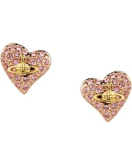 Tiny Diamante Heart Stud Earrings Light Rose