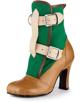 Bondage Boot Green/tan