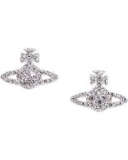 Grace Bas Relief Stud Earrings Crystal