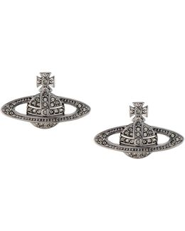 Mini Bas Relief Earrings Black Diamond