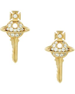 Darianne Petite Key Earrings Gold