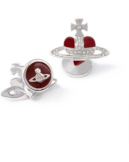 Diamante Red Heart Cufflinks